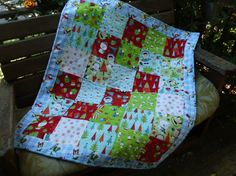 Winter baby quilt by NannyGrans on Etsy,
