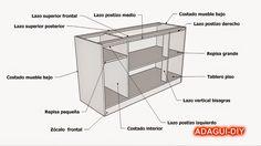 Plano y medidas como hacer un esquinero de cocina de for Manual de muebles en melamina pdf