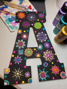 ... Wooden Letter Crafts, Painting Wooden Letters, Painted Letters, Dot Art Painting, Mandala Painting, Stone Painting, Mandala Dots, Mandala Design, Rock Crafts
