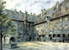 Adolf Hitlerアドルフ・ヒトラー(1889ー1945)「Der Hof der Alten Residenz in München(ミュンヘンの旧家の中庭)」(1914)