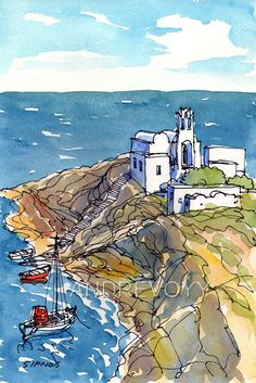 Sifnos Chapel at the Sea Greece art print from an original watercolor painting