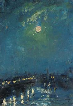 Lesser Ury (1861-1931)  The River Thames, London, Moonlight  signed 'L.Ury' (lower right); with the Nachlass stamp (on the reverse) oil on canvas  http://www.christies.com