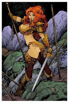 Art by Arthur Adams. Red Sonja 4 by Arthur Adams Fantasy Girl, Fantasy Warrior, Fantasy Women, Dark Fantasy Art, Fantasy Artwork, Red Sonja, Comic Book Artists, Comic Artist, Comic Books Art