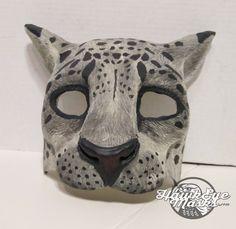Snow Leopard mask, Animal costume mask, big cat mask, animal spirit, lightweight mask, adult masquerade, wildcat, winter by HawkEyeMasks on Etsy