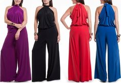 SEXY PLUS SIZE TURTLENECK FULL LENGTH WIDE LEG PALAZZO PANTS SUIT DRESS JUMPSUIT #LAFASHION #Jumpsuit