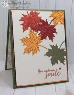 Stampin' Up! Colorful Seasons for Stamp Ink Paper We've got a theme challenge this week at Stamp Ink Paper and I used the Stampin' Up! Colorful Seasons stamp set bundle to create my card for the CAS fall theme. Here is the theme for Stamp Ink Pape… Thanksgiving Cards, Holiday Cards, Stampin Up Karten, Leaf Cards, Stamping Up Cards, Some Cards, Halloween Cards, Up Halloween, Vintage Halloween