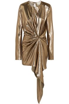 SAINT LAURENT Asymmetric draped silk-blend lamé mini dress. #saintlaurent #cloth #dresses