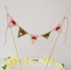 Woodland Birthday Cake Bunting Toadstool Cake Decoration by mosey