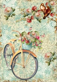 A romantic bike ride on Stamperia decoupage rice paper. Great blues and vintage flowers, and script for your decoupage projects. Get them at Decoupage Designs USAStamperia Ριζόχαρτο Decoupage Bicicletta E Ramo FioritoRice paper beautifully printe Decoupage Vintage, Papel Vintage, Vintage Diy, Vintage Labels, Vintage Cards, Vintage Paper, Printable Vintage, Style Vintage, Vintage Pictures