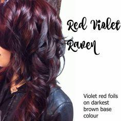 Violet Red Foils/Darkest Brown Base Colour - New Hair Design Pelo Color Violin, Fall Hair Colors, Hair Color Highlights, Peekaboo Highlights, Red Violet Highlights, Fall Highlights, Hair Color And Cut, Raven Hair Color, Brunette Hair
