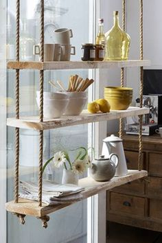 These 20 DIY Hanging Shelves Are Perfect If You Are Looking To Try A More Minimalist Approach With Your Home Decor. Perfect for those who love indoor gardens! Hanging Rope Shelves, Floating Shelves, Glass Shelves, Suspended Shelves, Display Shelves, Wall Shelving, Floating Desk, Shelving Ideas, Hanging Storage