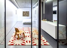 Industrial   Style Inspired Interior by Pitsou Kedem Architects playful artistic rug