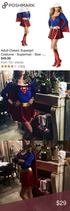 "#Supergirl costume XS SUPER cute costume ❤️💙 FREE gift 🎁 with purchase 😜Worn once for 1-2 hours👌🏻I'm 5.6"" tall, 122 lbs, 32B. Original packaging. Includes: dress with cape, gold belt, boot covers. Secret Wishes Dresses Mini"