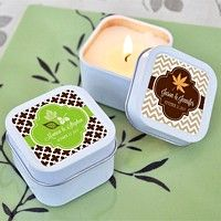 Personalized Square Candle Tins with Fall Labels