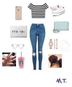 """""""Early Morning Starbucks #5"""" by princess-madison234 ❤ liked on Polyvore featuring Alice + Olivia, Topshop, Converse, Kate Spade and Michael Kors"""