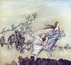 Peter Pan in Kensington Gardens: The Fairies Have Their Tiffs with the Birds, Arthur Rackham