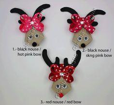 Christmas Reindeer Ribbon sculpture bow w / original swarovski crystal/ Christmas hair clip. $7.95, via Etsy.