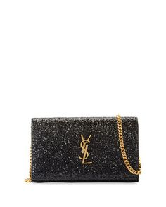 Monogram+Small+Glitter+Wallet-on-Chain,+Black+by+Saint+Laurent+at+Neiman+Marcus.