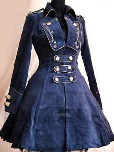 gothic lolita dark fashion jacket. Love how it tapes at the waist and flares out for the skirt