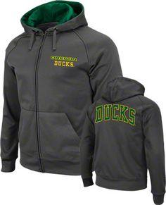 Oregon Ducks Charcoal Full-Zip Fleece Hooded Sweatshirt