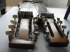 The twin necks of the high-action Sevesi number four. Bridge details of Sevesi number four with star fret markers and roller volume controls. The Popularity of Spanish and Hawaiian acoustic guitars duri Lap Steel Guitar, Acoustic Guitar, Acoustic Guitars