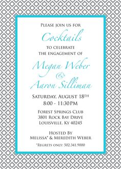 Engagement Party invitations by InitialMePink on Etsy, $12.00
