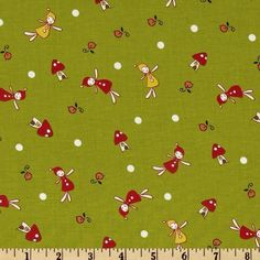 1YD WOODLAND Lecien PETITE FAIRY TOSS HERB Red Green Japan Natalie Lymer Fabric #LecienCinderberryStitches
