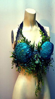 Blue Abalone shell mermaid top by MerBellaStudios on Etsy, $125.00