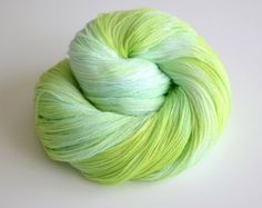 Hand Dyed Lace Yarn - 875 Yards Superfine Merino and Silk - Yemaya in Turquoise Blue Lime Green