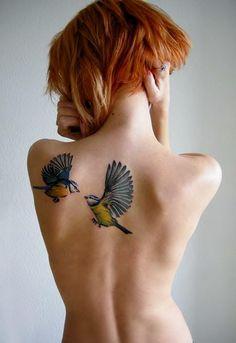back tattoo love birds