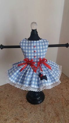 Dog Dress XS Blue and white checkers dress by NinasCoutureCloset