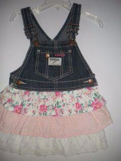 Oshkosh BGosh Toddler Size 2T Embroidered Eyelet Ruffle Overall Girls Dress…