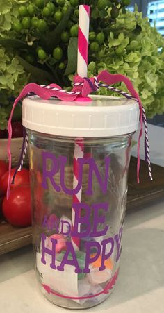 Run and Be Happy Mason Jar Tumbler