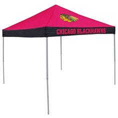 NHL Chicago Blackhawks Logo Economy Tent, Regular, Red/Black  http://allstarsportsfan.com/product/nhl-chicago-blackhawks-logo-economy-tent-regular-redblack/  9×9 ft coverage 9 feet at tallest point Folds flat for easy transport and storage