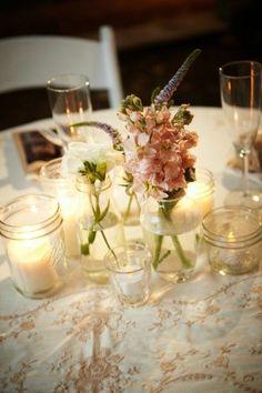 mason jar decorations for rustic weddings | Mason jar table decor | Rustic country Wedding ideas