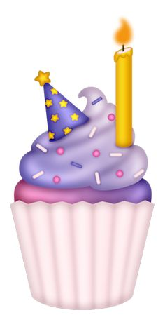 Birthday Cupcake With Candle Clipart