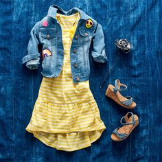 Girls' fashion | Kids' fashion | Striped hi-low dress | Patched denim jacket | Chambray wedges | The Children's Place