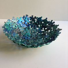 Metallic Blue Jigsaw Puzzle Bowl by SJPuzzles on Etsy Puzzle Piece Crafts, Puzzle Art, Puzzle Pieces, Crafts To Make, Fun Crafts, Crafts For Kids, Arts And Crafts, Paper Crafts, Camping Crafts