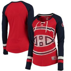 Montreal Canadiens Majestic Women's Vintage Hip Check Lacer Long Sleeve T-Shirt - Red -
