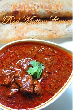 Rajasthani Laal Maas Recipe / Red Mutton Curry Recipe - think I'd choose lamb Lamb Recipes, Veg Recipes, Spicy Recipes, Curry Recipes, Indian Food Recipes, Asian Recipes, Chicken Recipes, Cooking Recipes, Healthy Recipes