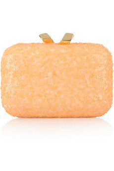 Kotur  Margo sequined box clutch  pastel-orange