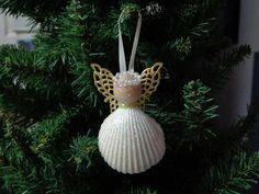 Small Iridescent Shell Angel Christmas Tree Ornament