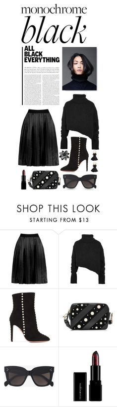 """Monochrome: All Black Everything"" by shortyluv718 ❤ liked on Polyvore featuring Ann Demeulemeester, Aquazzura, Karl Lagerfeld, CÉLINE, MANGO and allblack"
