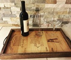 Custom Made French Wine Crate Panels Originals & White Oak Handmade Serving Tray