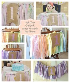 Girls First Birthday High Chair Banner. Girls Party Supplies. Shabby Chic High Chair Banner with Burlap Flag. Rainbow Style Or ANY color