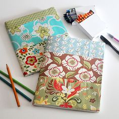 Cute back to school project, and a great way to use up fat quarters. Turn composition books from the Dollar Store into pretty notebooks and journals.