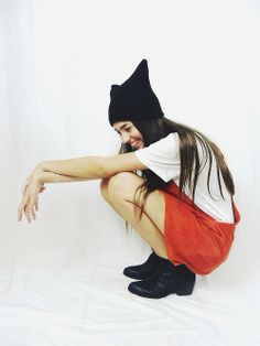 #meowshlebs in the Orbital leather pinafore - spice and the Isis beanie #lilya #ilovelilya www.ilovelilya.com