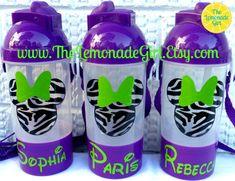 Personalized DISNEY Minnie Mickey Mouse Sippy Cup, Water Bottle, Minnie Chevron Print, Minnie Zebra Print by TheLemonadeGirl, $40.00