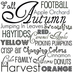 Fall Autumn Printable Decor- Print on colored paper