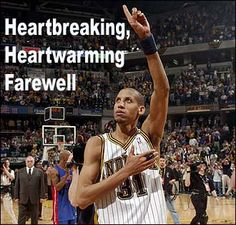 Reggie Miller salutes the fans after scoring 27 points in the final game of his NBA career in 2005 at Conseco Fieldhouse.